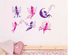 New Fairy 6PCs Removable Wall Art Stickers Kids Nursery PVC Decal Decor Large