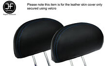BLUE STITCH 2X REAR HEADREST LEATHER COVERS FITS HONDA CIVIC & TYPE R 01-05