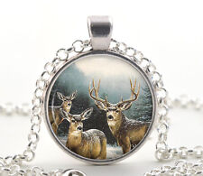 Christmas Reindeer Necklace Pendant - Snowy Christmas Style Jewelry Gift for Her