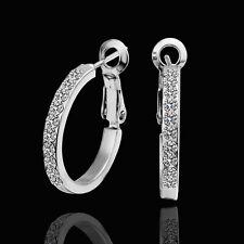 Bijoux boucles d'oreilles en cristal Swarovski et Or blanc 18K * PE388 + BOX