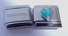 BLUE HEART 9mm Italian Charm + 1x Genuine Nomination Classic Link LOVE MARCH