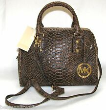 NEW-MICHAEL KORS SIGNATURE MOCHA PYTHON LEATHER+GOLD SM SATCHEL BAG+CROSSBODY