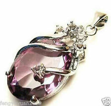 Beautiful !!! Solitaire Amethyst Silver Crystal Pendant With Necklace
