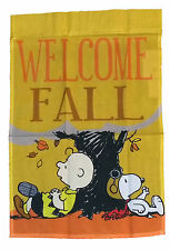 """PEANUTS SNOOPY WELCOME FALL FLAG~SITTING UNDER A TREE~12"""" x 18""""~NEW"""