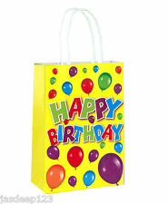10 Happy Birthday Themed Paper Bags With Handles Childrens Unisex Birthday Fun