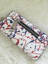 New Marc Jacobs White multi Splatter Paint zip around leather clutch wallet
