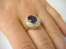 ! GORGEOUS AMETHYST AND HALO DIAMONDS VINTAGE RING, HIGH QUALITY, SIZE 6.75.