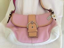 Coach Daisy purse handbag bag SOHO Boho pink & Ivory & tan leather trim