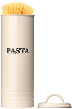 Tall Cream Pasta Enamel Kitchen Canister Spaghetti Lasagne Container Lid Jar