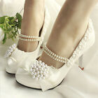 Royal Princess Across Pearls Kitten Shoes Wedding Lace Bow Knot High Heels Pumps