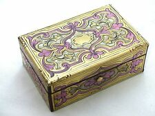 Superb RARE Antique French Vesta / Go To Bed Pink Boulle Table Box / Casket