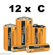 12 Duracell Procell Industrial C Batteries PC1400 1.5V R14 professional Alkaline