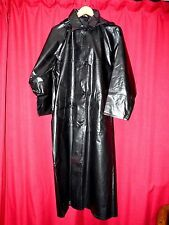 "SBR shiny black rubber mackintosh raincoat & hood L fetish 52""  long TV"