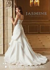 Jasmine collection Wedding dress gown beaded Satin GUC Ivory size 14 Bridal F226