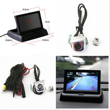 "Car License Screw Mini HD Camera +4.3"" LCD Foldable Rearview Display Monitor Kit"