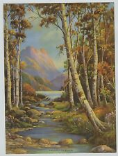 Vintage Print Rocky Mountains Birch Trees Lake  titled: The Lure of the Rockies