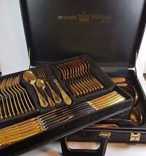 VINTAGE CASED SOLINGEN BESTECKE 23/24 CARAT GOLD PLATED CUTLERY 70 PIECE FOR 12
