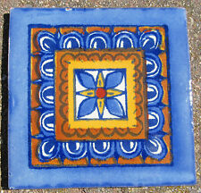 "10~Talavera Mexican 4"" tile pottery Cobalt blue terra cotta Gold Pottery Mexico"