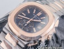 PATEK PHILIPPE NAUTILUS CHRONOGRAPH 18K ROSE GOLD STEEL 5980/1AR-001 MENS WATCH