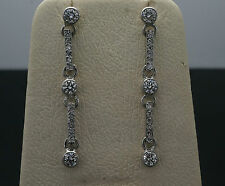 Vintage Platinum Diamond(0.80ct) Drop Stud Earrings(3x32mm)