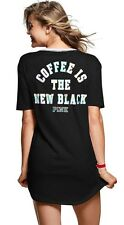 Victoria's Secret Pink COFFEE IS THE NEW BLACK Lace Up Sleep Shirt Tee SMALL S