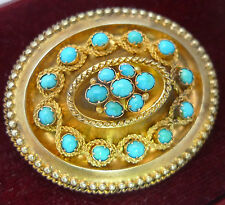 Victorian 15ct Gold & Turquoise Locket Brooch 14g 4.4cm x 3.6cm