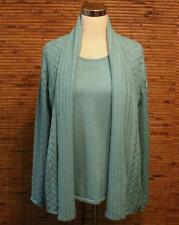 Susan Graver Twin Set Cardigan Sweater Fit M or L Turquoise Tank Pointelle 2 Pc.