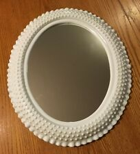 Vtg Shabby Chic White Milk Glass Hobnail Style Bathroom Vanity Hallway Mirror