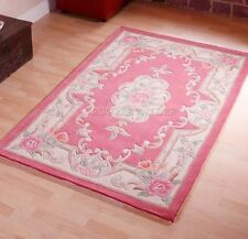 LARGE ROSE PINK TRADITIONAL CHINESE AUBUSSON RUG WOOL HAND TUFTED RUGS 8'x5'