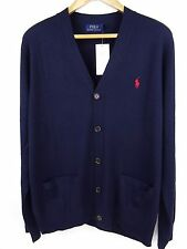 NEW MENS GENUINE RALPH LAUREN MERINO WOOL BUTTON-FRONT CARDIGAN NAVY XL RRP £120