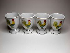 Set of Four Retro Style Ceramic Egg Cups Featuring a Colourful Cockerel