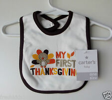 "Carter's Baby Bib ""My First Thanksgiving"" One Size NWT"