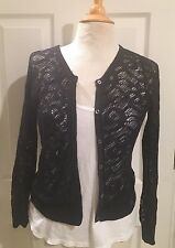 Abercrombie & Fitch Navy Blue Lace Cardigan SWEATER Size Medium