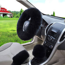 Winter Warm Long Wool Handbrake Cover Gear Shift Cover Steering Wheel Cover Set