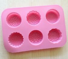 Cake Mold 6-Happiness Flower Soap Flexible Silicone Mould For Candy Chocolate