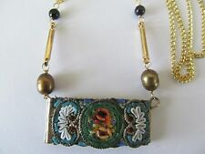 HANDCRAFT ITALIAN MICRO MOSAIC w/ONYX-PEARL BEAD-GOLD STEM PENDANT GOLD NECKLACE