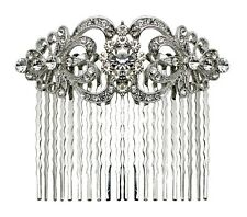 Bella Krystal Rhodium Plated Swarovski Crystal Hair Comb 8cm bridal wedding