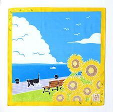 SUNFLOWER WITH CAT AUTHENTIC JAPANESE COTTON FUROSHIKI (TB71)