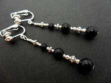 A PAIR TIBETAN SILVER BLACK ONYX  BEAD  EXTRA LONG CLIP ON  EARRINGS. NEW.