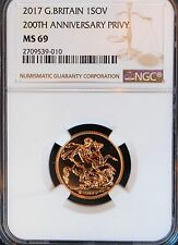 2017 Gold Sovereign MS69 NGC BU COIN UK 200th Anniversary Privy Great Britain