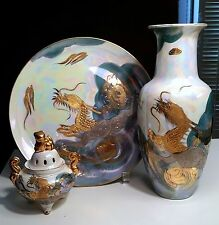 AITO Japan 3 pieces,China Porcelaine Golden Dragon- Incense Burner,Vase,Dish 18k