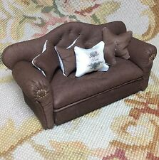 Pat Tyler Dollhouse Miniature Leather Sofa Couch Divan Settee W/Pillows Brown
