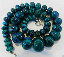 Charming!! 10-20mm Azurite Gemstone Phoenix Stone Roundel Beads Necklace 18