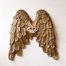 Shabby Cottage Chic Handmade Heavenly Angel Wings With Crown Wall Decor