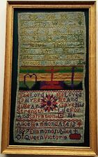 Coloré 19th c antique sampler. reine victoria diamond jubilee 1897. hammond