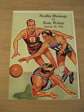 "VTG 1951 High School BASKETBALL Program~""NEEDLES MUSTANGS vs. BASIC WOLVES"""