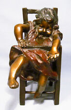 Juan Clara Rare 1875-1958 Little Girl Slumped in High Chair Bronze Figurine