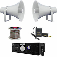 "11"" PA Horn 30W Speakers,PT100 Mic Mono Amplifier,Lavalier Mic Set/ Speaker Wire"
