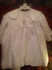 DRAMATIC NEW GIRLS CREAM SATIN DRESS AND COAT. SIZE 18-24 MONTHS. HIGH QUALITY .