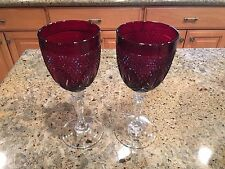 RUBY RED CRISTAL D'ARQUES DURAND SET OF 2 WINE GOBLETS 8 INCH TALL